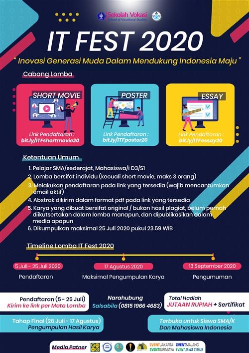 """IT FEST 2020 """"Generasi Muda dalam Mendukung Indonesia Maju"""""""